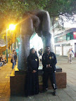 Sifu Julie Regis and Sifu Garry Mckenzie at the hands statue, Nathan Road (near the eastern entrance to Kowloon Park).