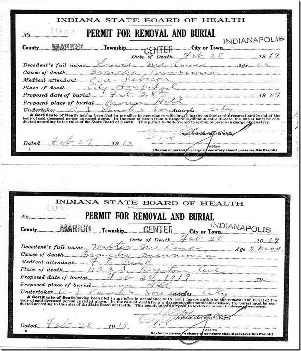 Burial Permits, Louise and Walter Niehaus, 1919