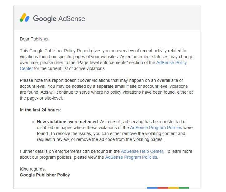 Got Email in Adsense Publisher Policy Violation Report - مساعدة AdSense