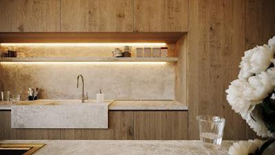 ديكورات مطبخ مودرن بالخشب