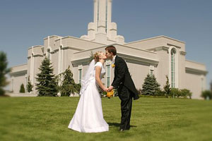 Another photo of Traci and Brian on August 20, 2005 at the Mount Timpanogos Temple in American Fork, UT. Photo courtesy of Brian Brown.