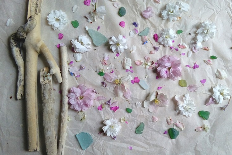 driftwood, sea glass and petals