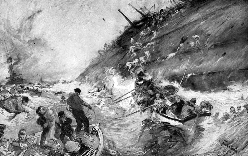 The Sinking of the Cressy, Aboukir and Hogue by Henry Reuterdahl.