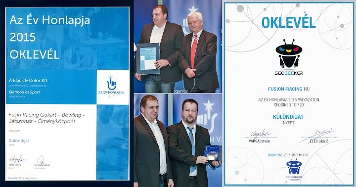 Az Év Honlapja és SEO díj 2015 - Fusion Racing