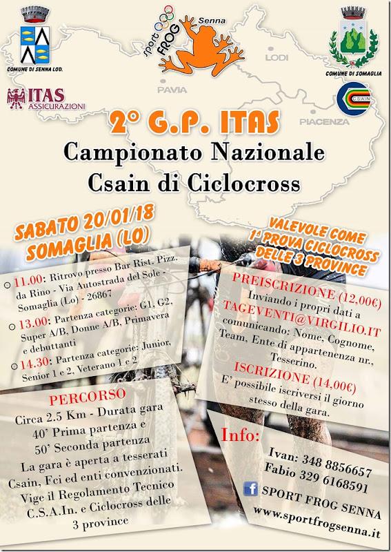 2018-01-20 CSAIN - Cross Camp. Nazionale CSAIN Ciclocross 1^prova Il Ciclocross delle 3 Province a Somaglia (LO) - Lombardia