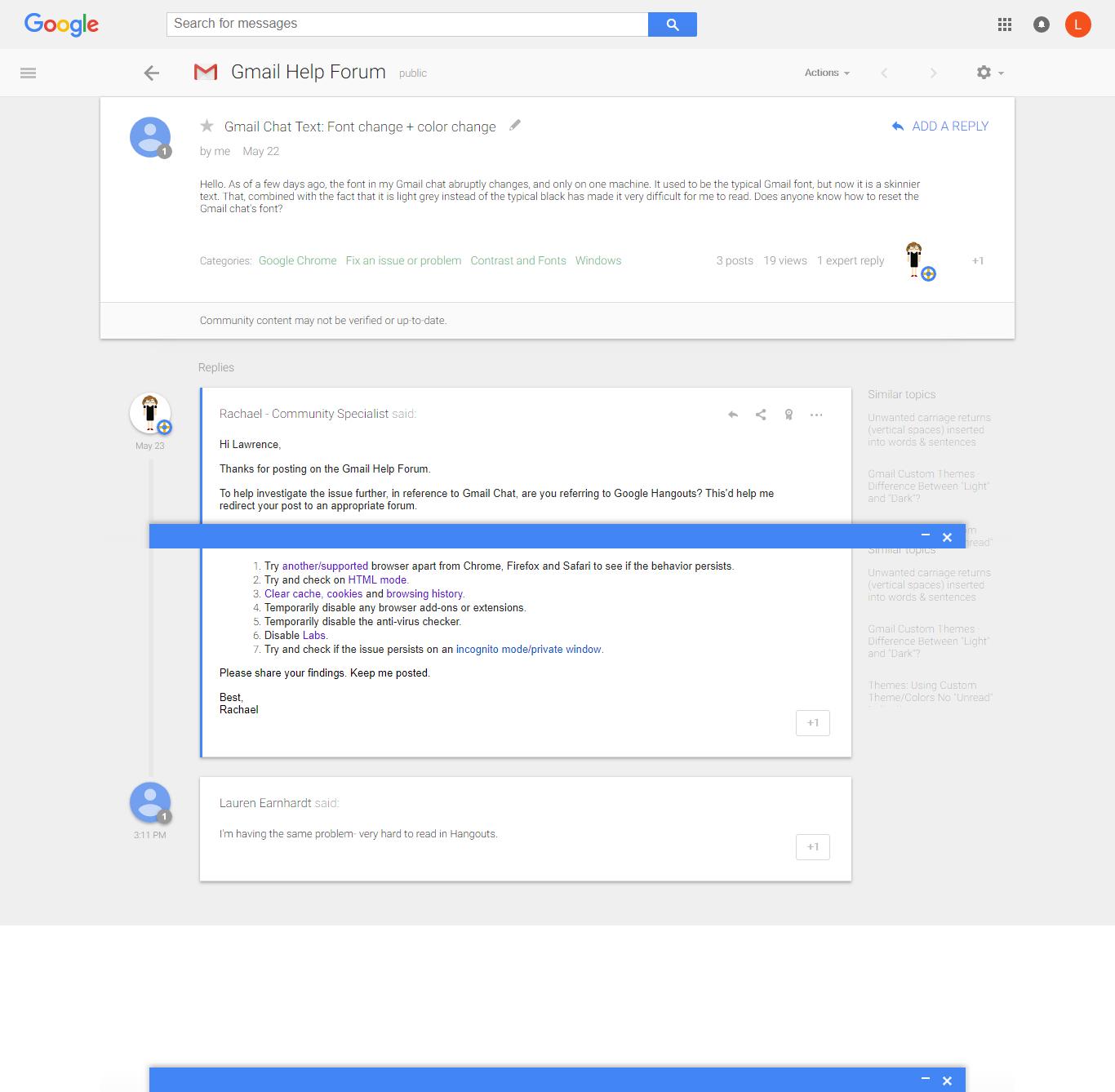 Gmail Chat Text: Font change + color change - Gmail Help