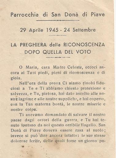 La preghiera della riconoscenza a Maria della popolazione di San Donà alla fine della guerra (1945), dopo il voto del settembre 1943 e 1944 (parte prima)