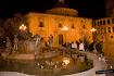 Foto de la Fuente del río Turia con las acequias y al fondo la Basílica de la Virgen de los Desamparados