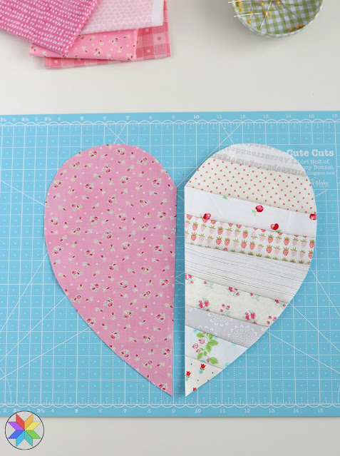 Heartstrings quilt block tutorial from A Bright Corner - perfect scrap quilt idea