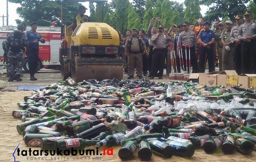Gelar Pasukan dan Pemusnahan Miras Polres Sukabumi