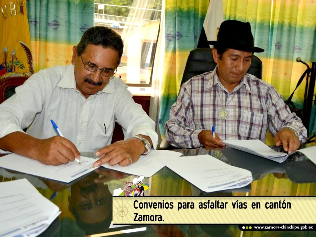CONVENIOS PARA ASFALTAR VÍAS EN GUADALUPE Y QUEBRADA DE CUMBARATZA-SAN FRANCISCO, CANTÓN ZAMORA.