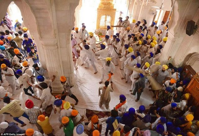 Sword Fight at Golden Temple at the anniversary of Operation Blue Star
