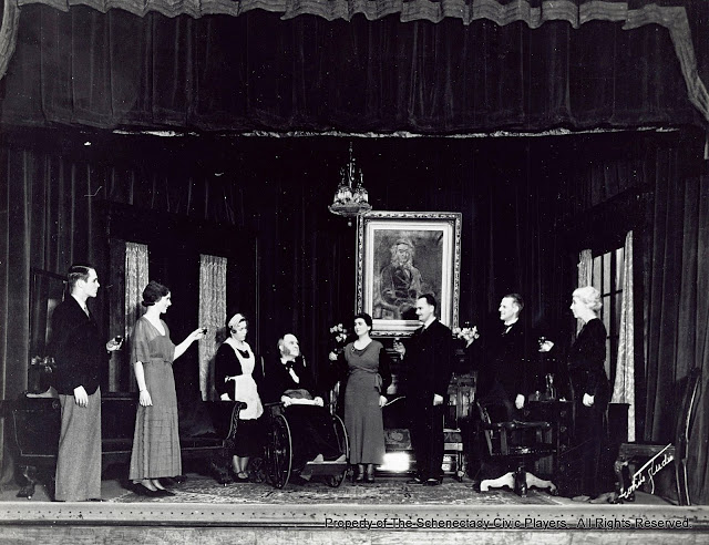 Van Vechten Trumball, Janet Coulson, Helen Turner, J.B. Taylor, Mary Grimes McGee, Arthur Sherburne, J.J. Walker and Mrs. J.B. Taylor in THE TRUTH ABOUT BLAYDS - December 1932.  Property of The Schenectady Civic Players Theater Archive.
