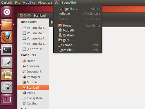 Nautilus 3.5.2 su Ubuntu 12.10 global menu