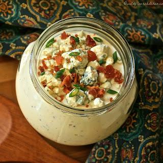 Chunky Gorgonzola Salad Dressing with Whole Grain Mustard, Scallions, Bacon & Chardonnay