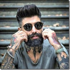 Long pompadour with fade