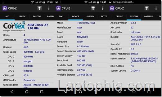 CPU-Z Acer Liquid Z320