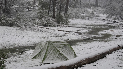 Robin's tent in the snow©http://backpackthesierra.com