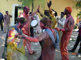PVs join in the local Holi dance
