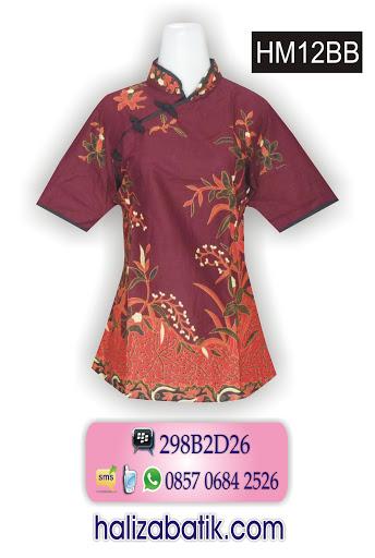desain baju batik wanita, model baju wanita, model atasan batik modern