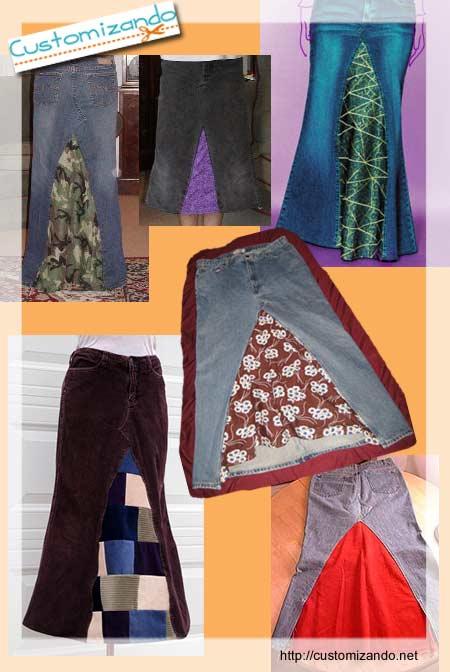 Transformando calça jeans em saia longa