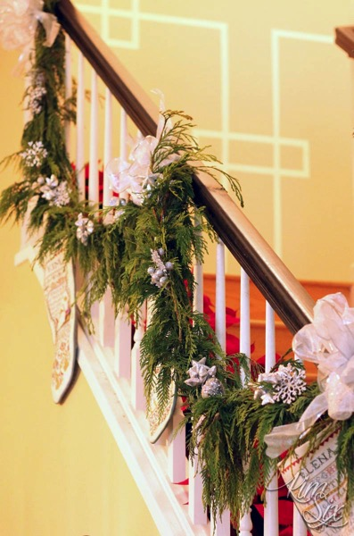 Cedar Garland and Stockings on Stairwell