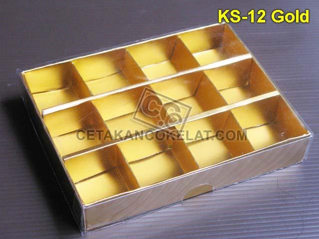 Casing Kotak 12 Gold kemasan mika coklat cokelat sekat KS-12