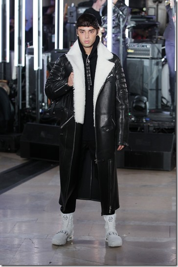 NEW YORK, NY - FEBRUARY 13:  A model walks the runway wearing look #12 for the Philipp Plein Fall/Winter 2017/2018 Women's And Men's Fashion Show at The New York Public Library on February 13, 2017 in New York City.  (Photo by Thomas Concordia/Getty Images for Philipp Plein)