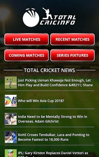 Live Cricket Scores & Updates -Total Cricinfo  screenshots 1