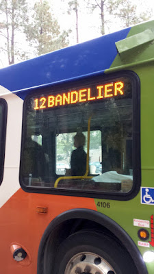 Bus to Bandelier National Monument is required to limit congestion and pollutants during peak season, peak times