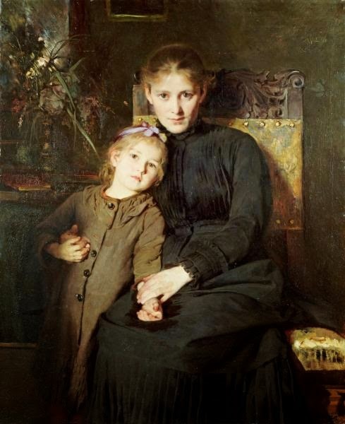 Bertha Wegmann - A mother and daughter in interior