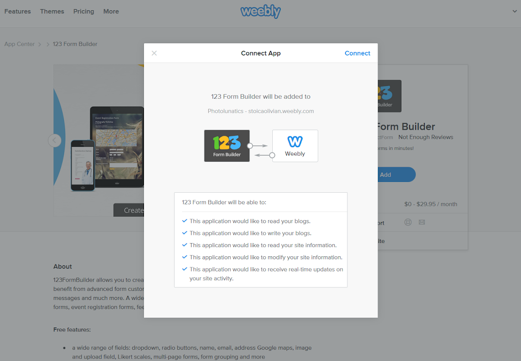123 Form Builder for Weebly - Connect App to Weebly