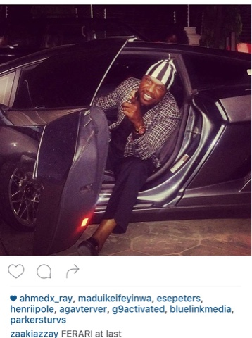 Zakkay Azzay poses with ferrari on instagram