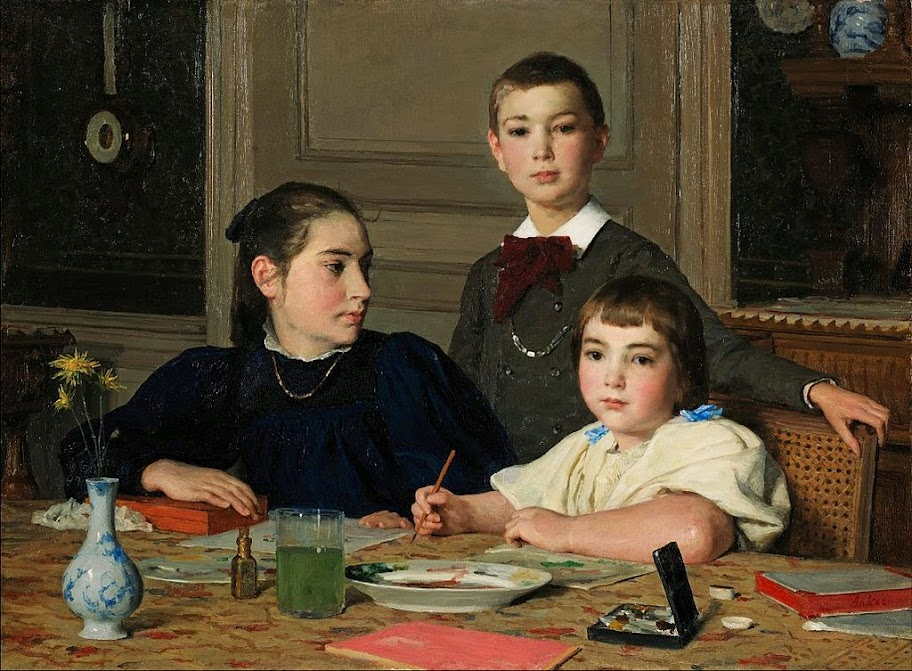 Albert Anker - The Zaeslin siblings