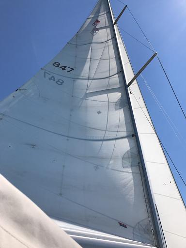 Full sails. 15 knots wind-beam reach-7 knots.