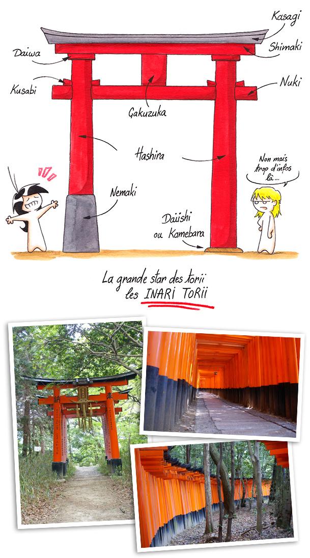 Les différents éléments qui compose un torii et les Inari torii.