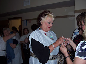 Debbie getting ready for the banquet