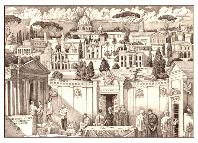 Escena alegórica del Año de la Misericordia, con la Puerta Santa y el Vaticano al fondo
