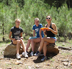 Enjoying lunch in the forest along the Mogollon Rim with the Bosque High School Cross Country Camp students (Photo by J. Davis)