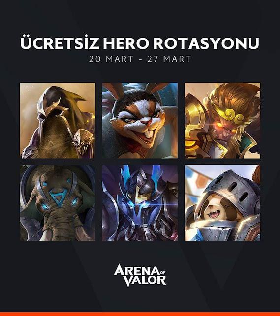 Ücretsiz Kahramanlar - 20 ile 27 Mart 2018 Arası - Arena of Valor