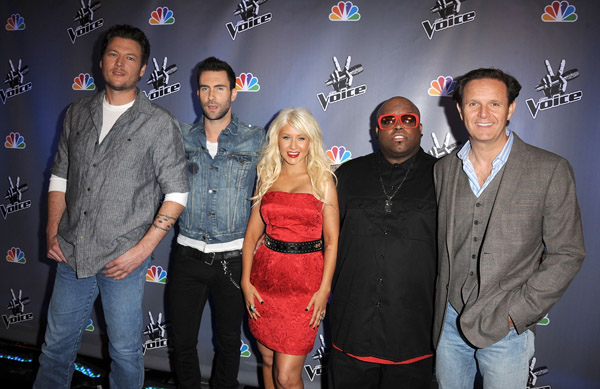 the voice judges. tattoo the voice judges sing.