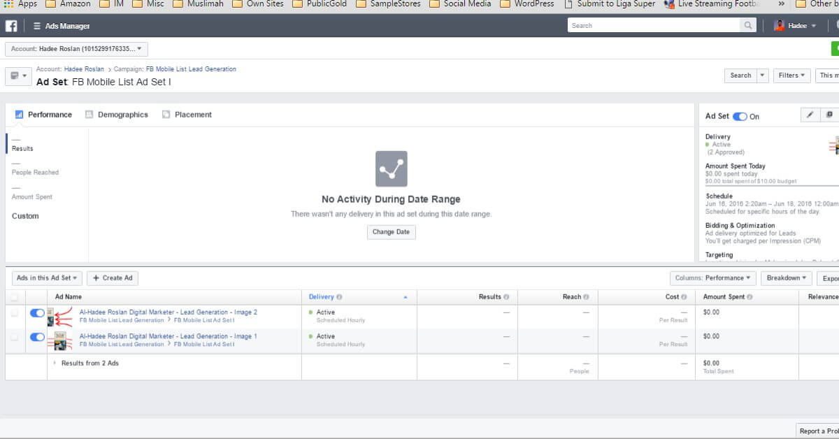 Facebook Ads Ad Manager Ad Set Dashboard