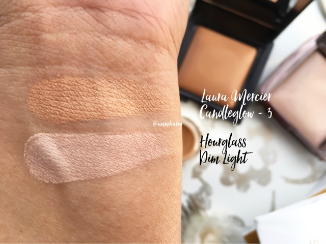 laura mercier candleglow powder 3 vs hourglass ambient lighting powder dim light, laura mercier candleglow powder swatch nc40, hourglass ambient lighting powder dim light swatch nc40