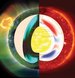 Imagen que ilustra los campos magnéticos en el interior del Sol