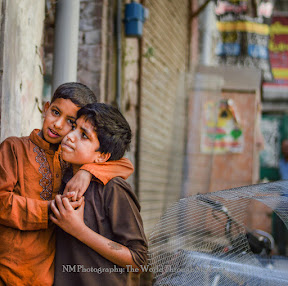 Youngsters seen in the Walled city of Lahore