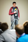 Michael Davidson from Google speaks to the hackers during EUhackathon 2014 at Googleplex in Brussels, Belgium on 02.12.2014