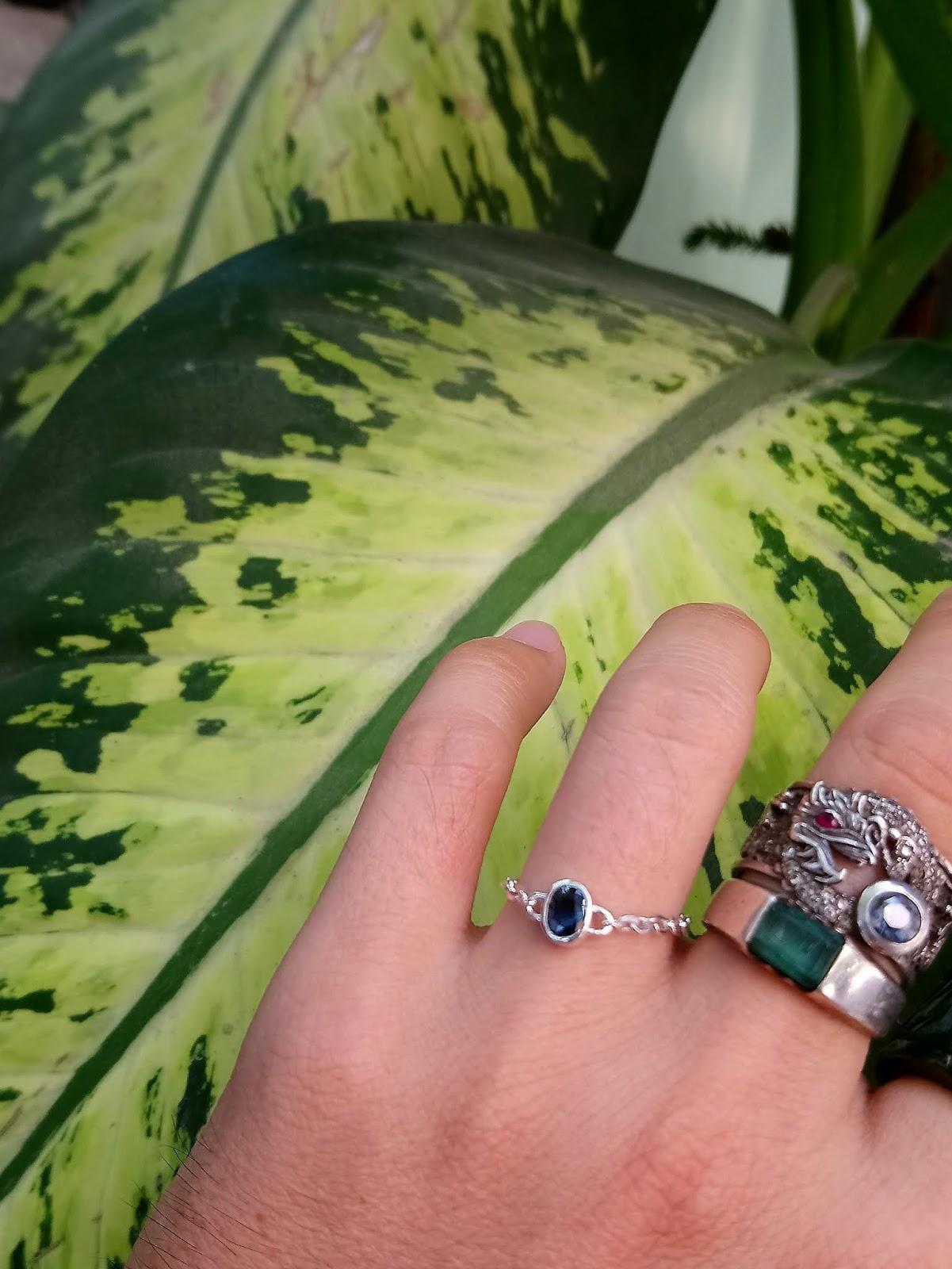 Nhẫn Sapphire thiên nhiên dây xích, bạc 925 (11/04/20, 03)