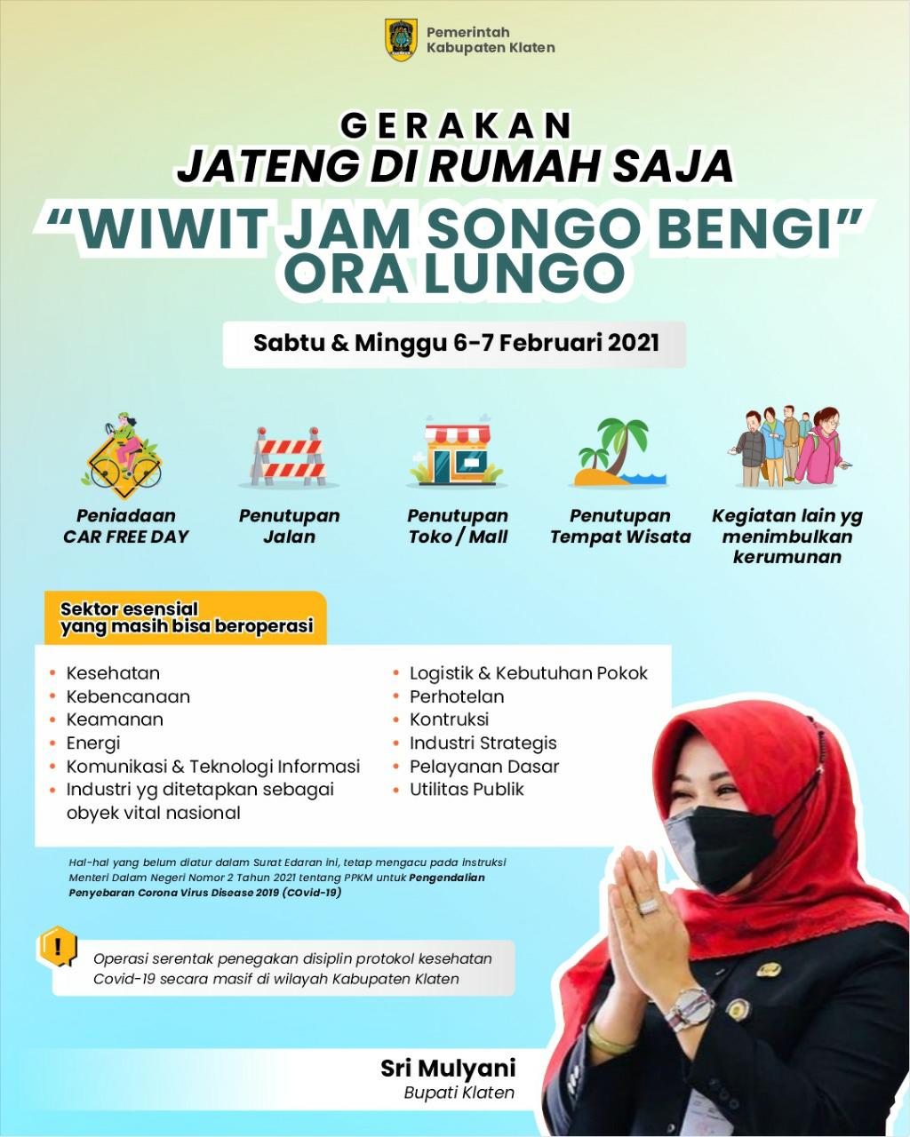 """Klaten Mendukung Gerakan Jateng Dirumah Saja. Bupati ; """"Wiwit Jam Songo Bengi Ora Lungo"""""""