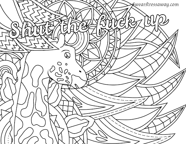 Free Printable Coloring Page  Shut The Fuck Up  Swear Word Coloring Page   Sweary Free Printable Coloring Pagesadult