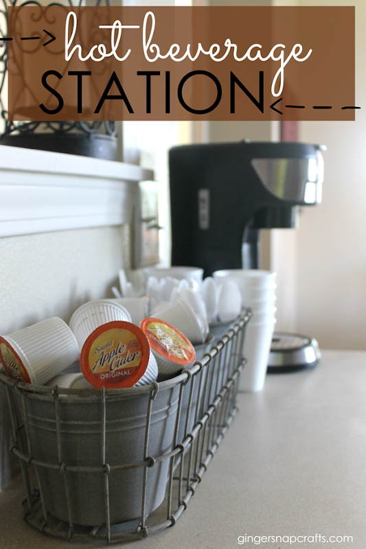 hot beverage station at GingerSnapCrafts.com